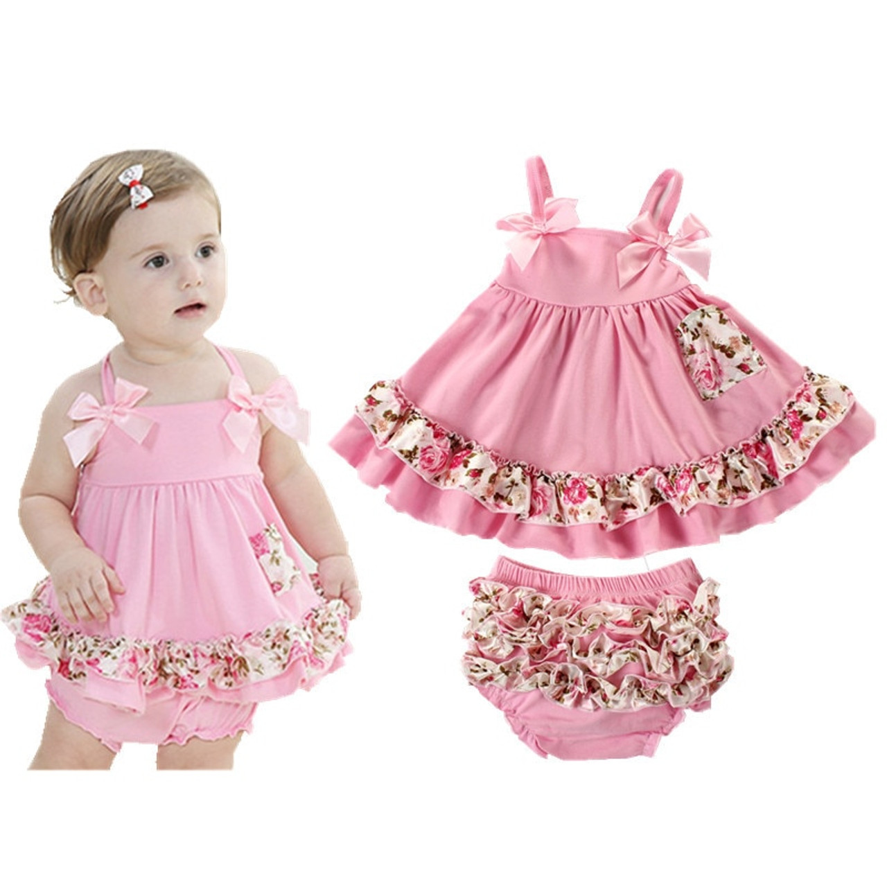 5 Summer Baby Clothing Newborn Baby Girl Clothes Dress Infant Sling Bat  Roupas Body Bebes Baby Dress 5 Pcs/set
