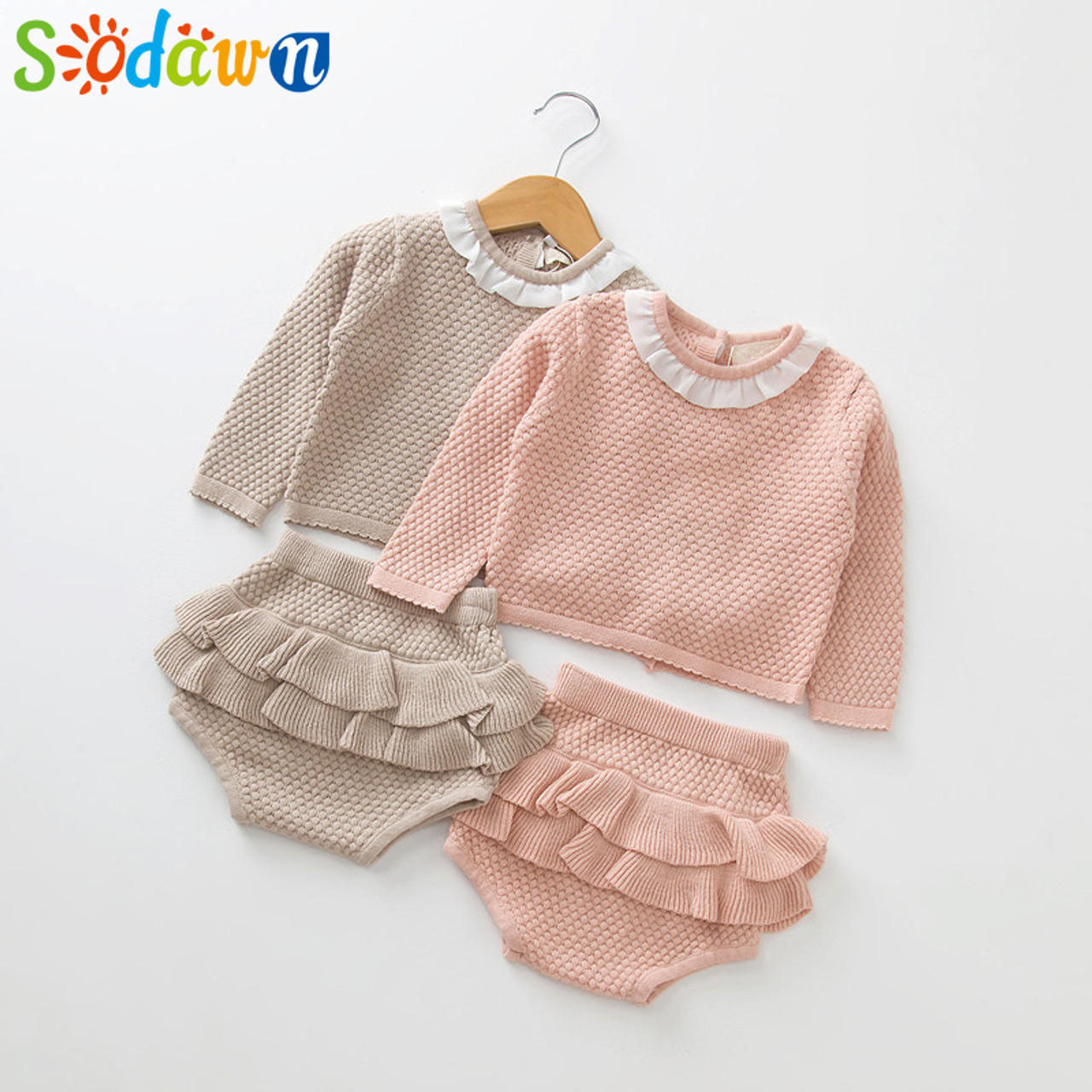 ebb547b77cc2a Sodawn 2018 New Spring Autumn Fashion Baby Girls Clothes Long Sleeve Knit  Sweater+Shorts Sets ...