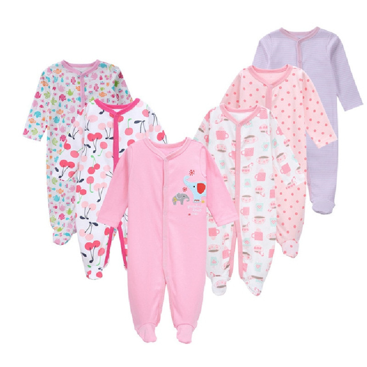 87ed5aff9434 6Pcs Newborn Baby Girl Romper Winter Baby Boy Jumpsuit 100% Cotton  Underwear Clothing Baby Rompers ...
