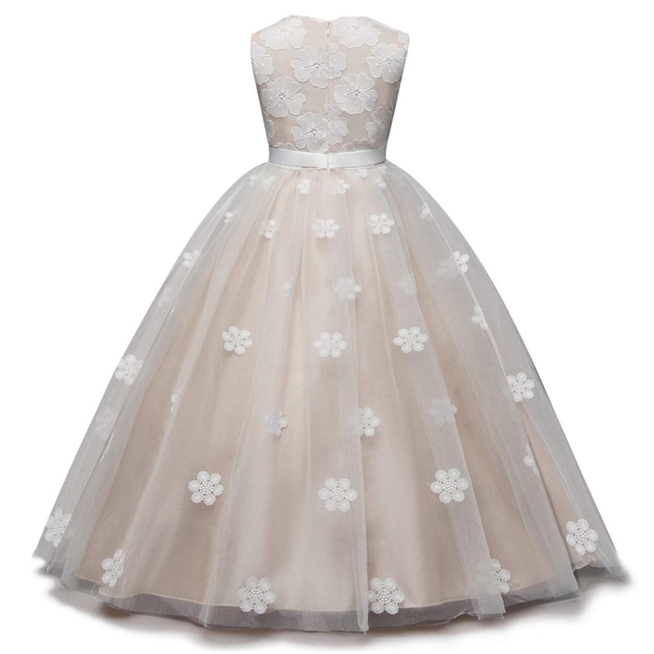 f03ea3557f521 Flower Girl Dress Children Graduation Gowns Ceremony Long Dresses Junior  Summer Party Clothing Kids Birthday Wedding Frock 6-14T