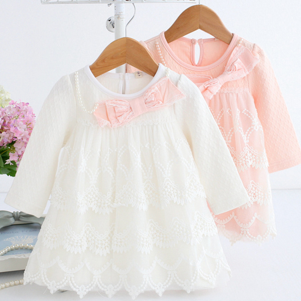 c32e1a221 Baby Dress Tiered Dresses Long Sleeve Spring Clothes 1 Year Old Girl  Birthday Dress Soft Cotton ...