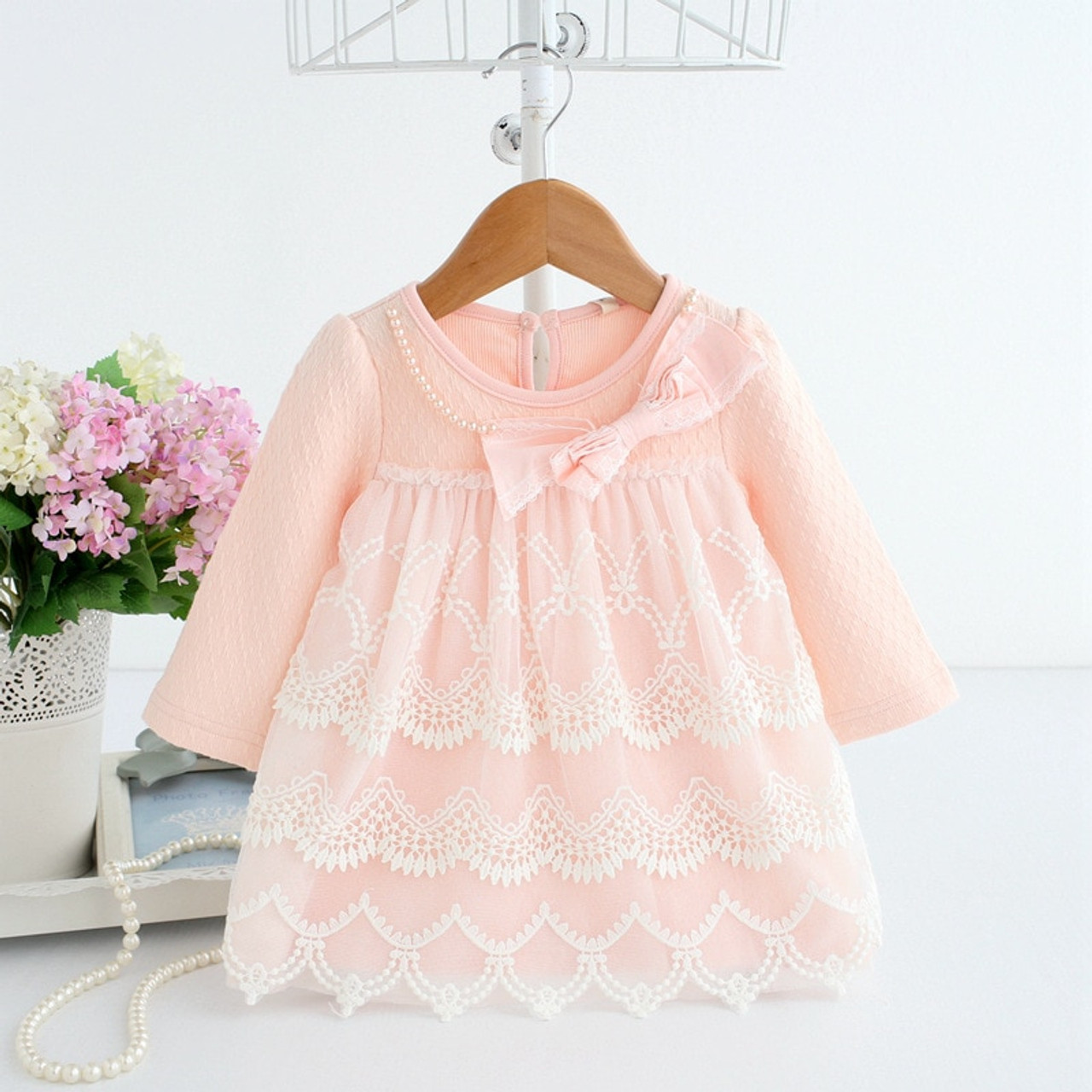 Baby Dress Tiered Dresses Long Sleeve Spring Clothes 7 Year Old Girl  Birthday Dress Soft Cotton Frock B074 Baby Outfits Vestidos