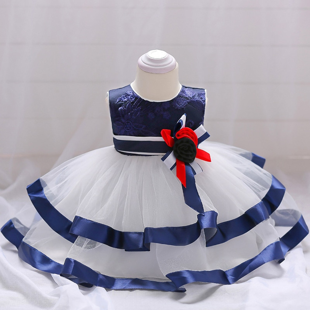 8204efe88479a Baby Girl Dress Blue Trim Frock Pageant Dress with Flower Patch Fluffy Tutu  Toddler Girl Tulle Dress A015 Vestidos Baby Clothes