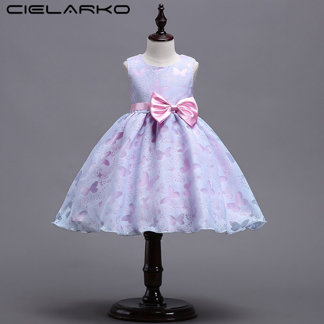 fa63c5cfa Cielarko Girls Dress Butterfly Princess Pageant Dresses Bow Kids ...