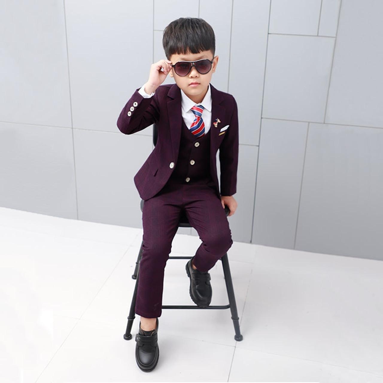c85916c12271 ActhInK New Boys Winter Suit 5Pcs Kids Wedding Blazer Suit Boys ...