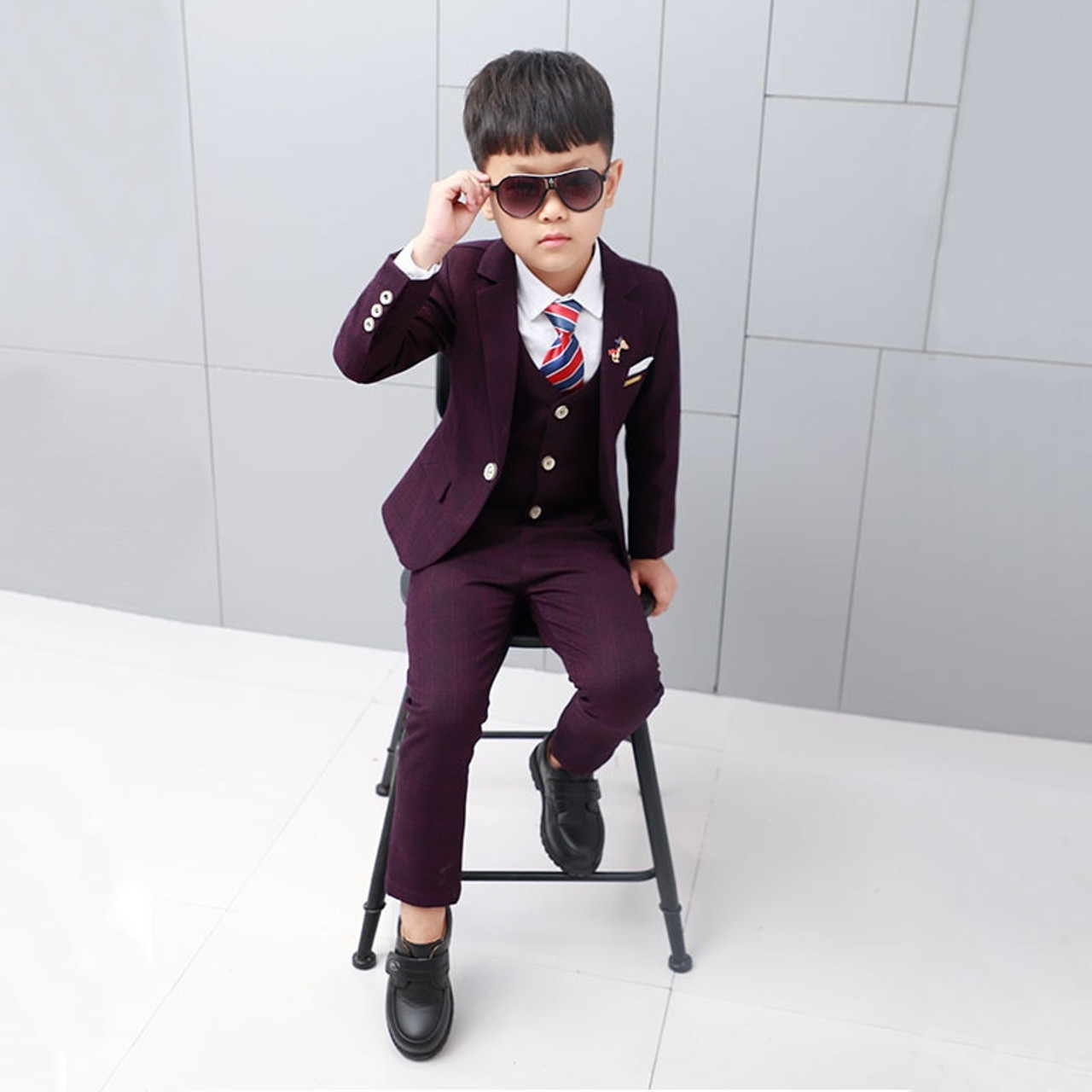 c3862397916d1 ActhInK New Boys Winter Suit 5Pcs Kids Wedding Blazer Suit Boys Shirts Vest  Stylish Clothing Set Baby Boys Wedding Clothes, C343