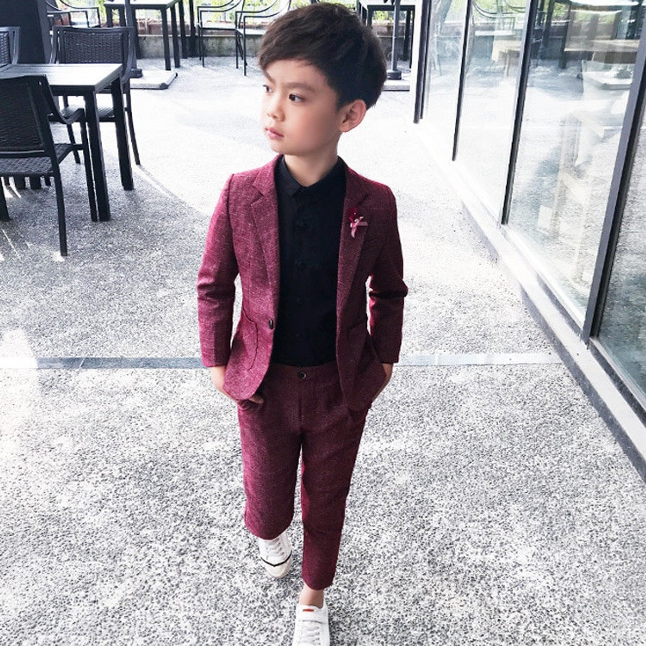 828cc088d50 Kids Blazer Baby Boys Suit Jackets 2018 Spring Cotton Coat Pants 2 Piece Boy  Suits Formal ...