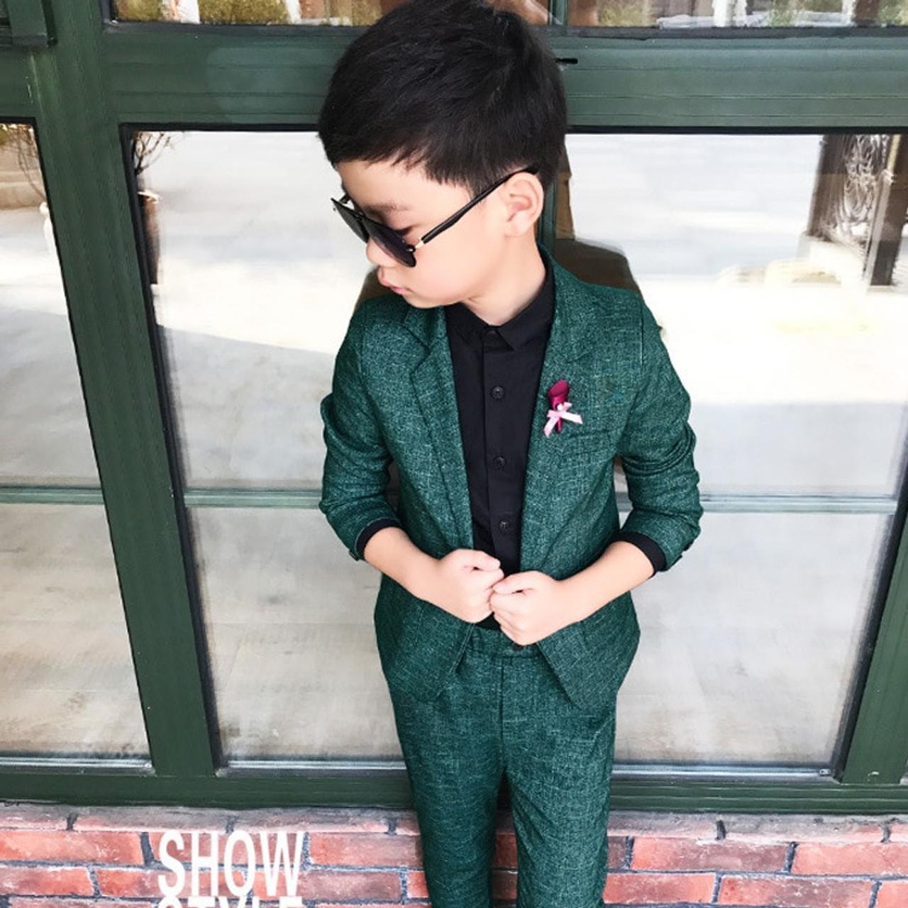 45dbdb557 Kids Blazer Baby Boys Suit Jackets 2018 Spring Cotton Coat Pants 2 ...