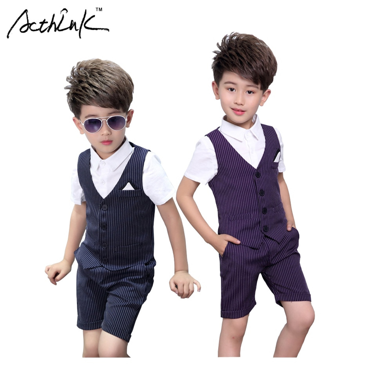 c171fe380 ActhInK New Boys Striped Vest Suit for Wedding Children Summer ...