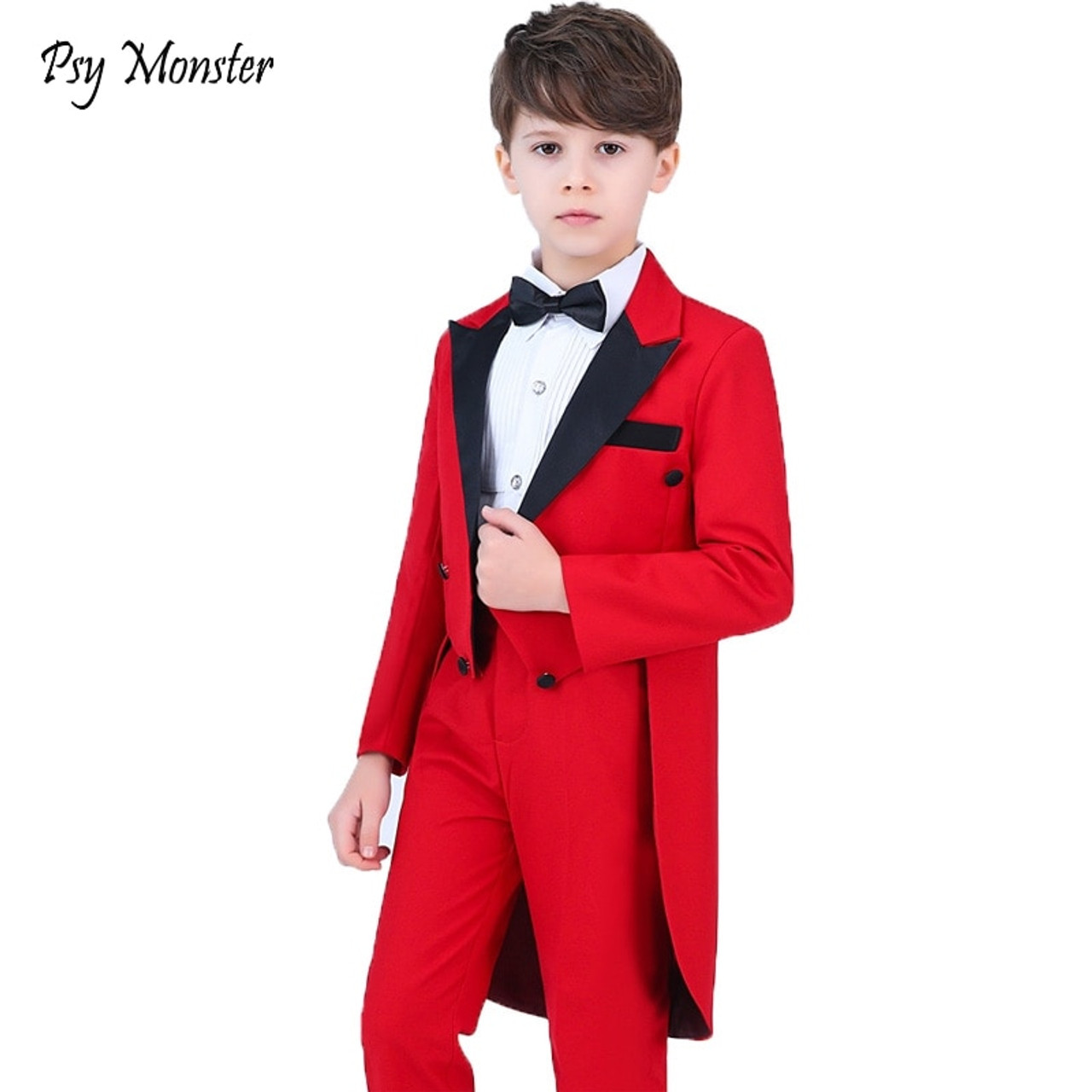 f25cf34db6b58 Boys Formal Dress Tuxedo Piano Performance Costume Flower Boys Birthday Wedding  Suits 5pcs Jacket + Shirt ...
