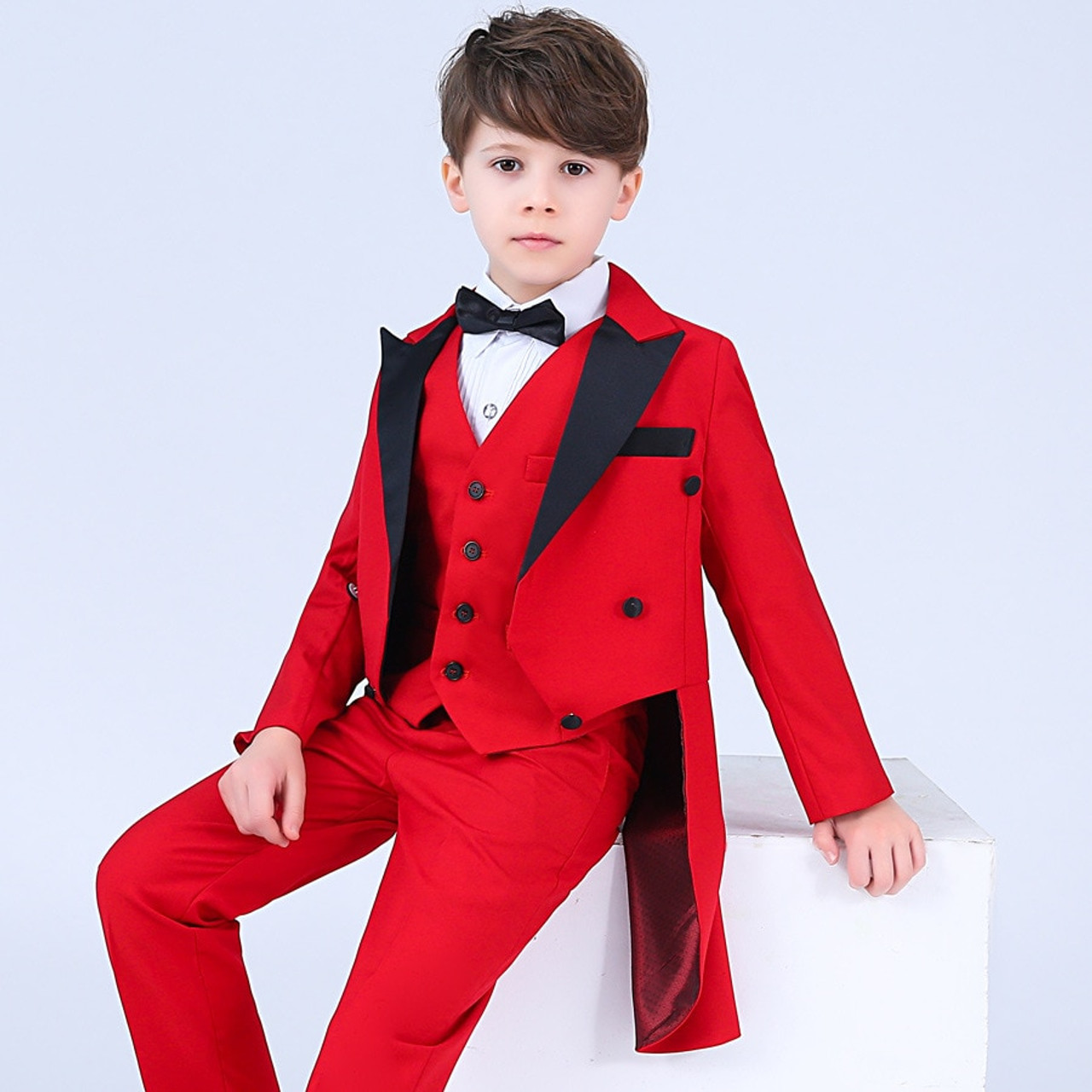 cefc0f7625a7 ... Boys Formal Dress Tuxedo Piano Performance Costume Flower Boys Birthday  Wedding Suits 5pcs Jacket + Shirt ...