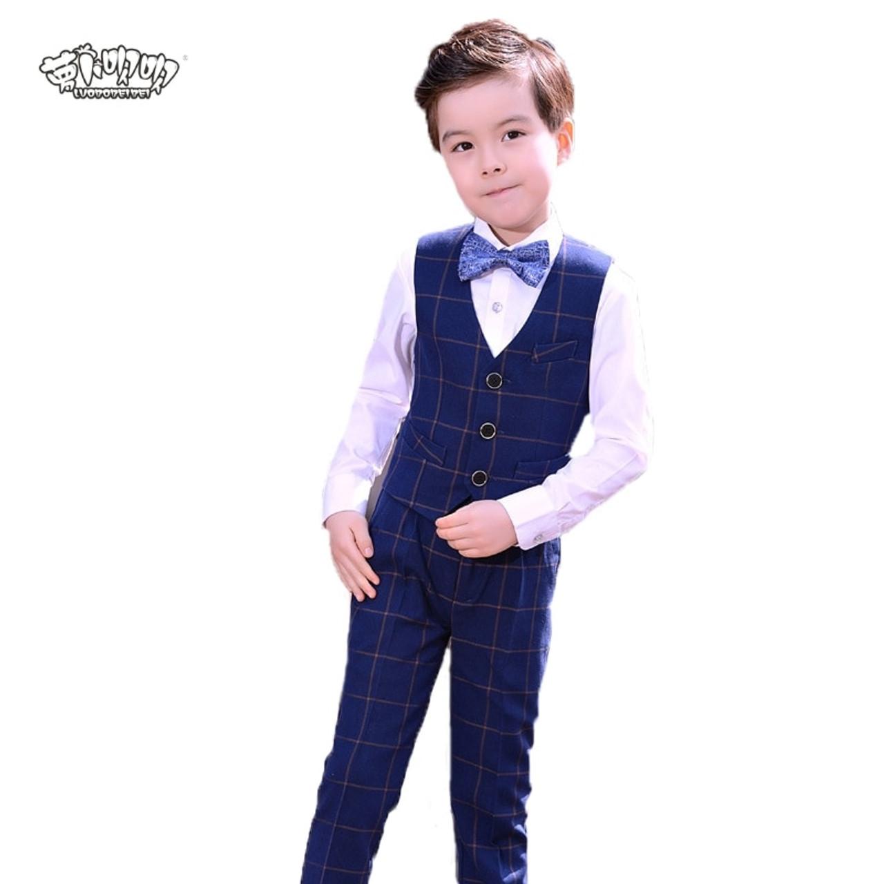 Pants Kids Clothes Outfits Necktie Shirt 4pcs//set Baby Boys Dress Suit Vest