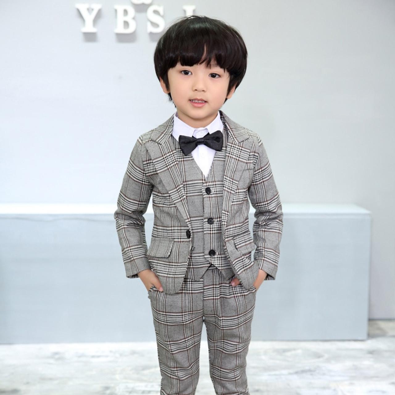 69ed75ce5 ... Flower Boys Formal School Suits for Weddings Boys Brand Plaid Blazer  Vest Pants 3pcs Tuxedo Kids ...