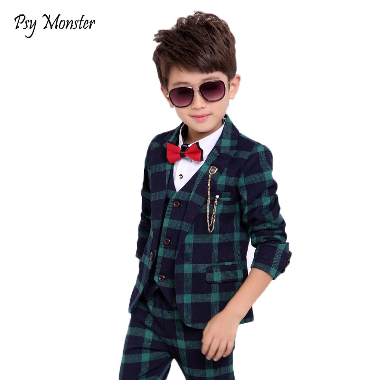 c4cd5997 ... Flower Boys Formal School Suits for Weddings Boys Brand Plaid Blazer  Vest Pants 3pcs Tuxedo Kids ...