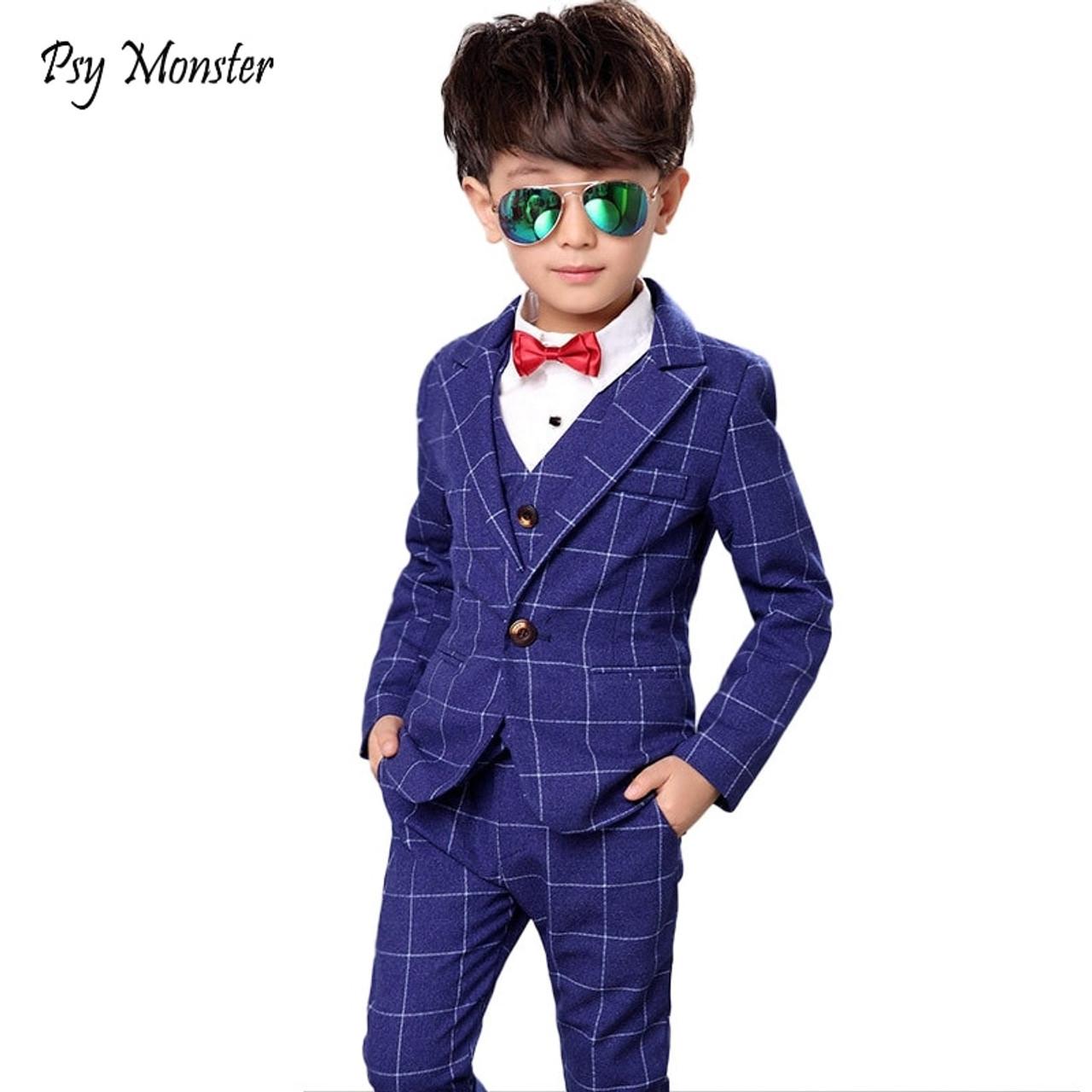 071b2667e77c6 Flower Boys Formal Anzug Suit Kids Wedding Birthday Party Dress Blazer Vest  Pants 3pcs Child Tuxedo Prom Performance Costume N40