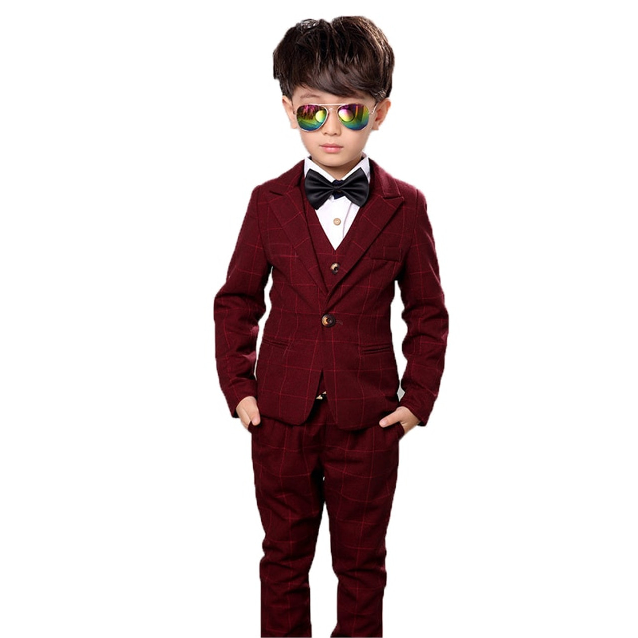 bbd05bf94ac0 ... Flower Boys Formal Anzug Suit Kids Wedding Birthday Party Dress Blazer  Vest Pants 3pcs Child Tuxedo ...