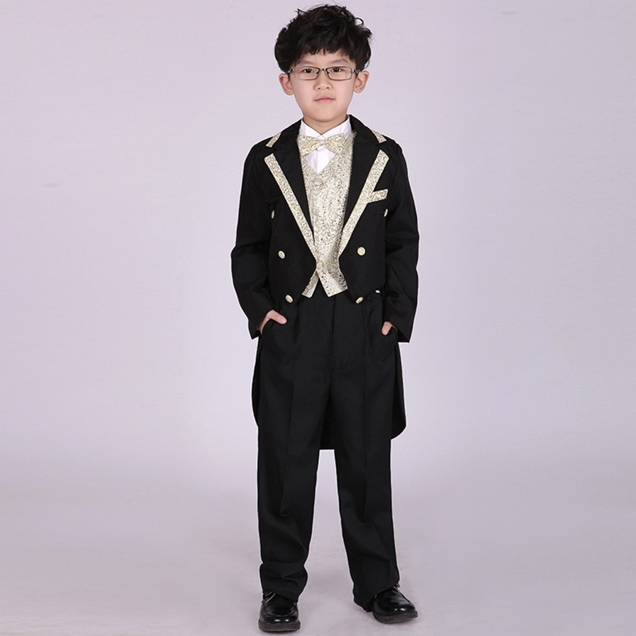 bc0961c5802c7 ... Boys Formal Dress Tuxedo Piano Performance Costume Flower Boy Birthday Wedding  Suits 5pcs Jacket + Vest ...