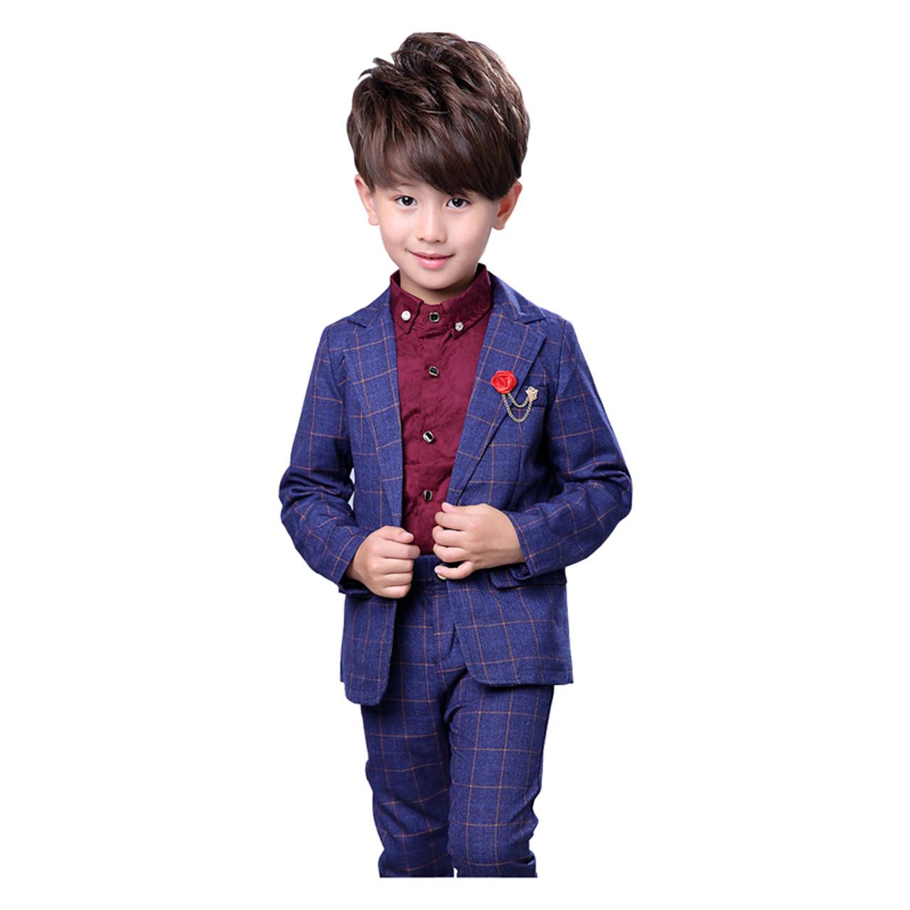 541b1232cdd8a ... Prince Boys 2Pcs Plaid Formal Wedding Suit England Style Boys Brooch  Blazers Kids Tuxedos Boys School ...