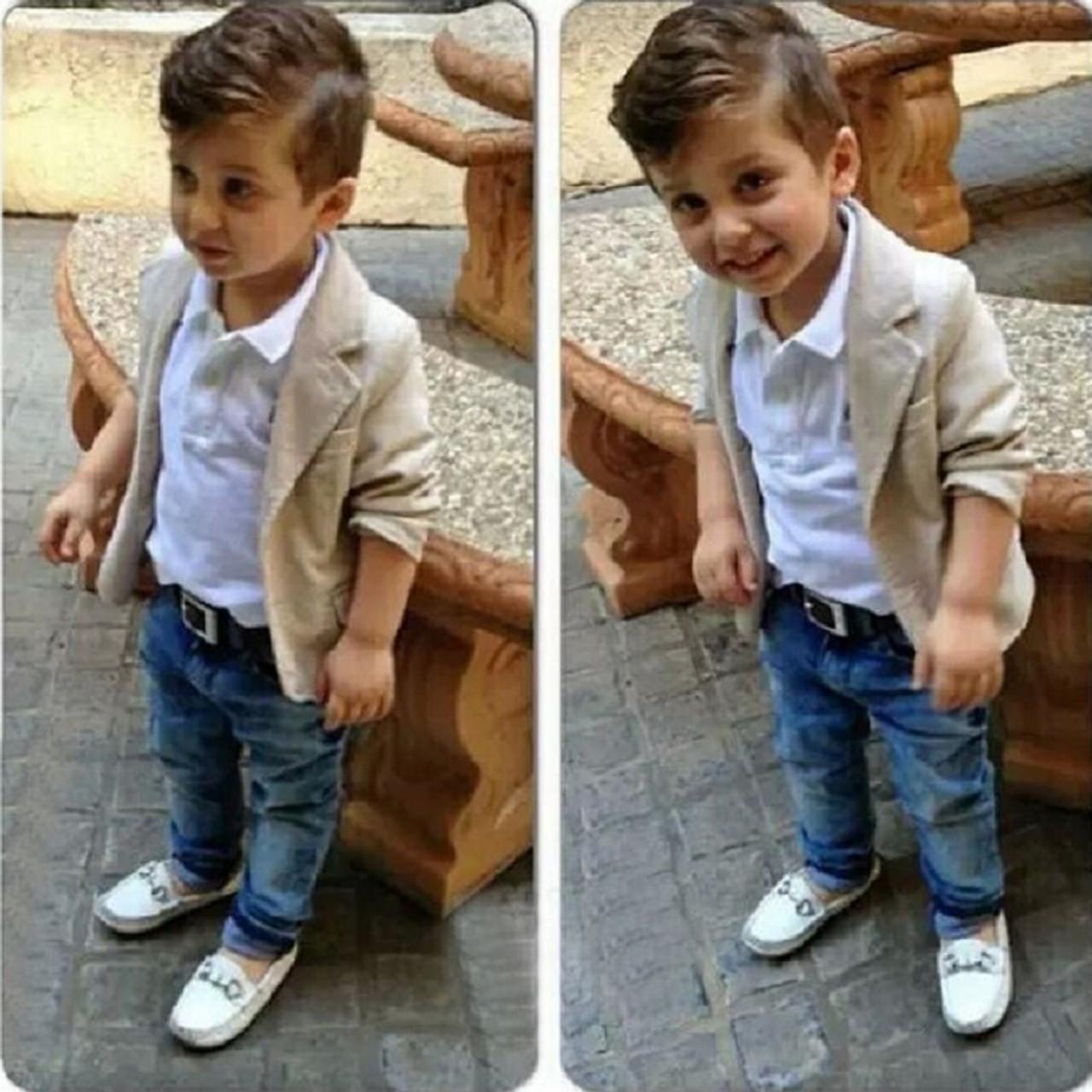Kids Infant Baby Boy T-shirt Tops+Jeans Pants+Demin Jacket Coat 3PCS//Set Clothes
