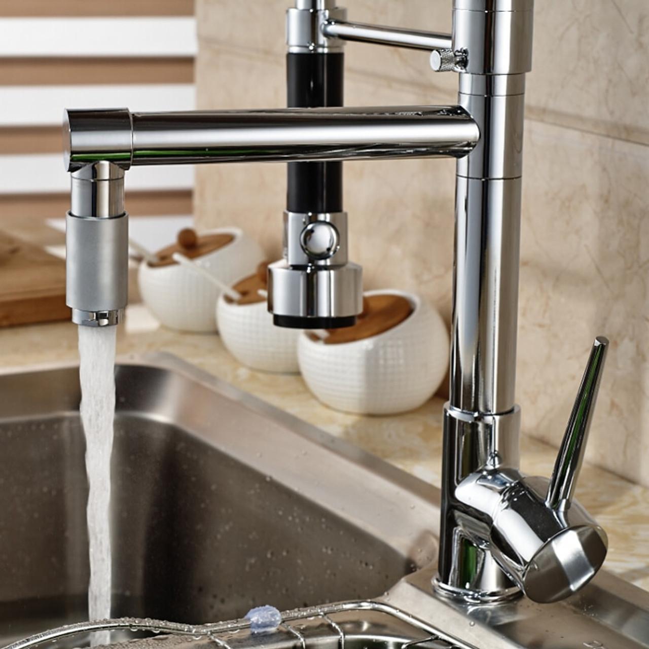 best quality wholesale and retail hot sale chrome brass kitchen faucet dual spout swivel bar vessel sink mixer tap deck mounted