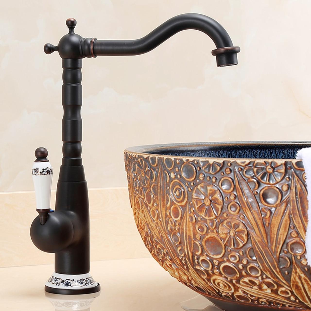 Picture of: Kitchen Faucets 360 Swivel Antique Brass Porcelain Mixer Tap Bathroom Basin Mixer Hot Cold Tap Antique Faucet Onshopdeals Com