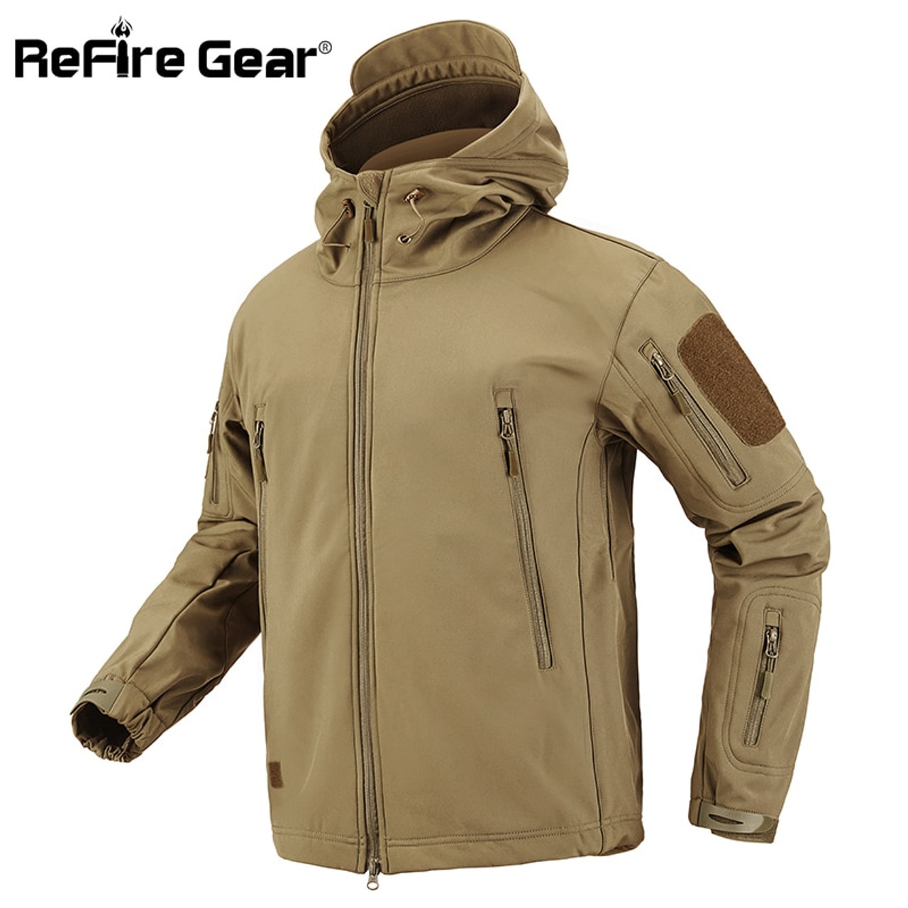 361420f06 ... ReFire Gear Shark Skin Soft Shell Tactical Military Jacket Men  Waterproof Fleece Coat Army Clothes Camouflage ...
