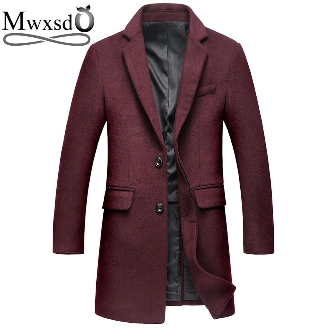 77e918698 Mwxsd brand winter casual Wool coat for men Middle long woolen topcoat  jacket male warm Overcoat ...