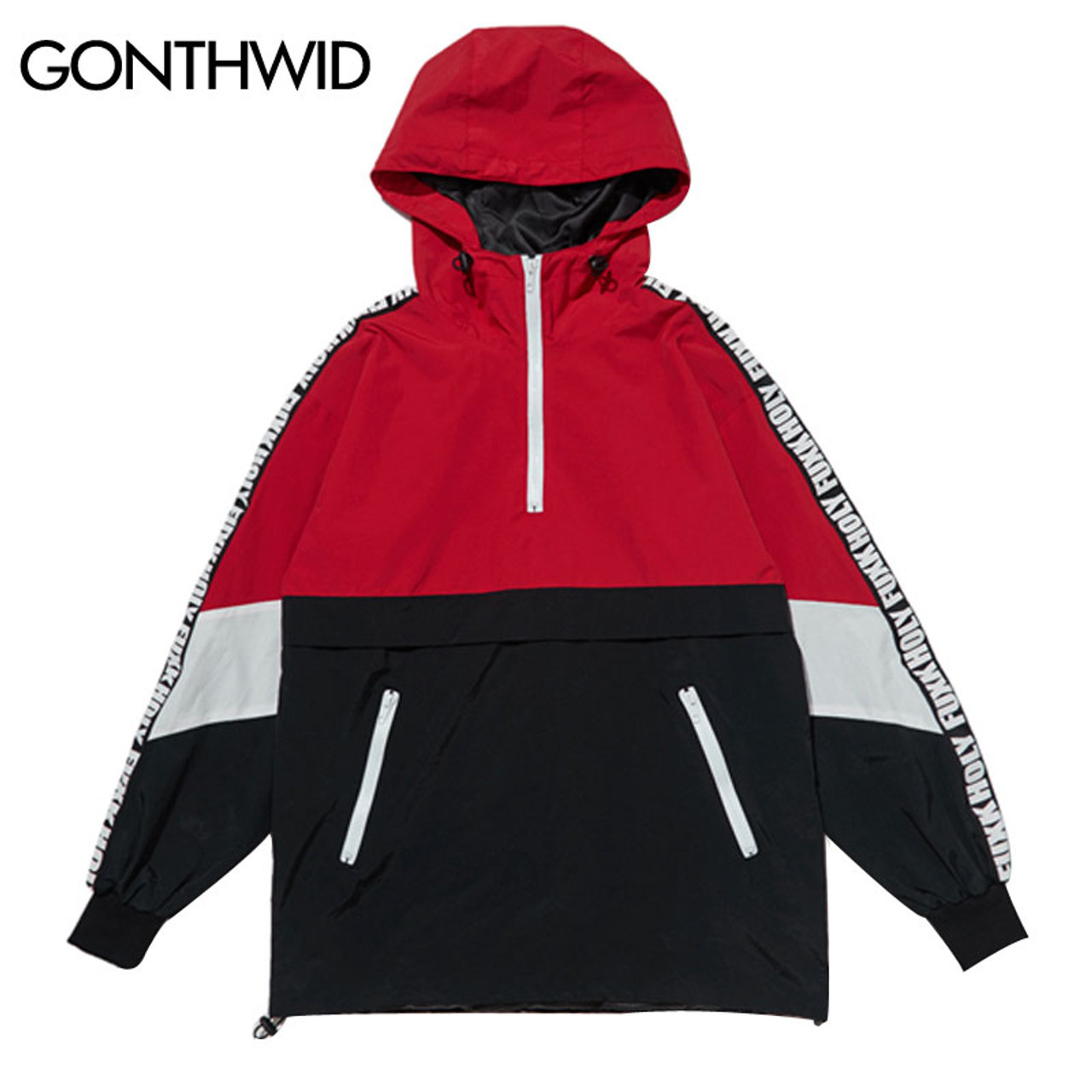 59f954a16c6 GONTHWID Patchwork Color Block Pullover Hooded Jackets 2017 Autumn Zipper  Tracksuit Casual Jacket Coats Hip Hop ...