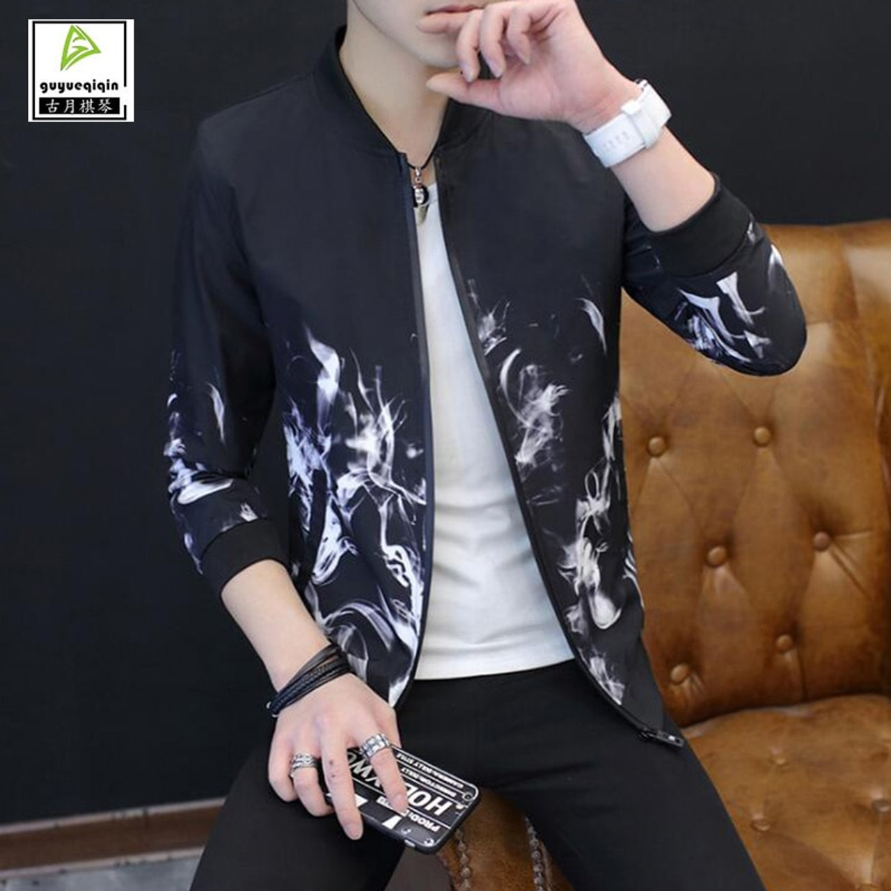 2977e458324 Guyueqiqin 2017 New Style Thin Spring Autumn Casual Jacket Men Korean Slim  Stand Neck Flame Printing ...