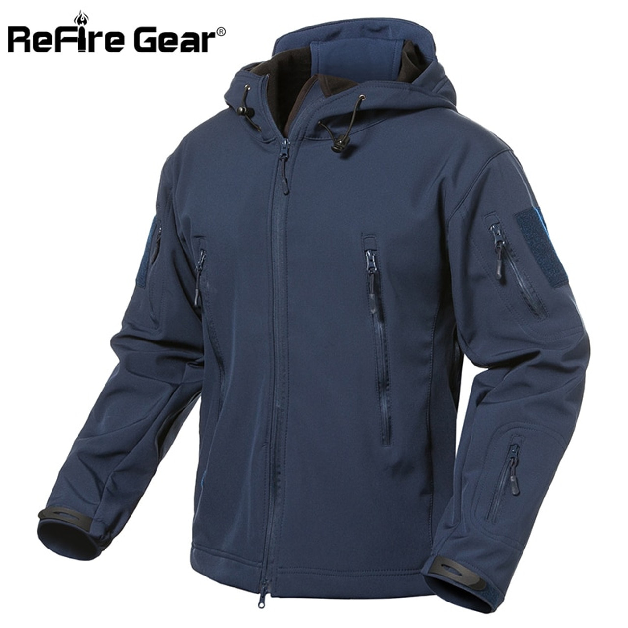 ace3df508 ReFire Gear Navy Blue Soft Shell Military Jacket Men Waterproof Army  Tactical Jacket Coat Winter Warm ...