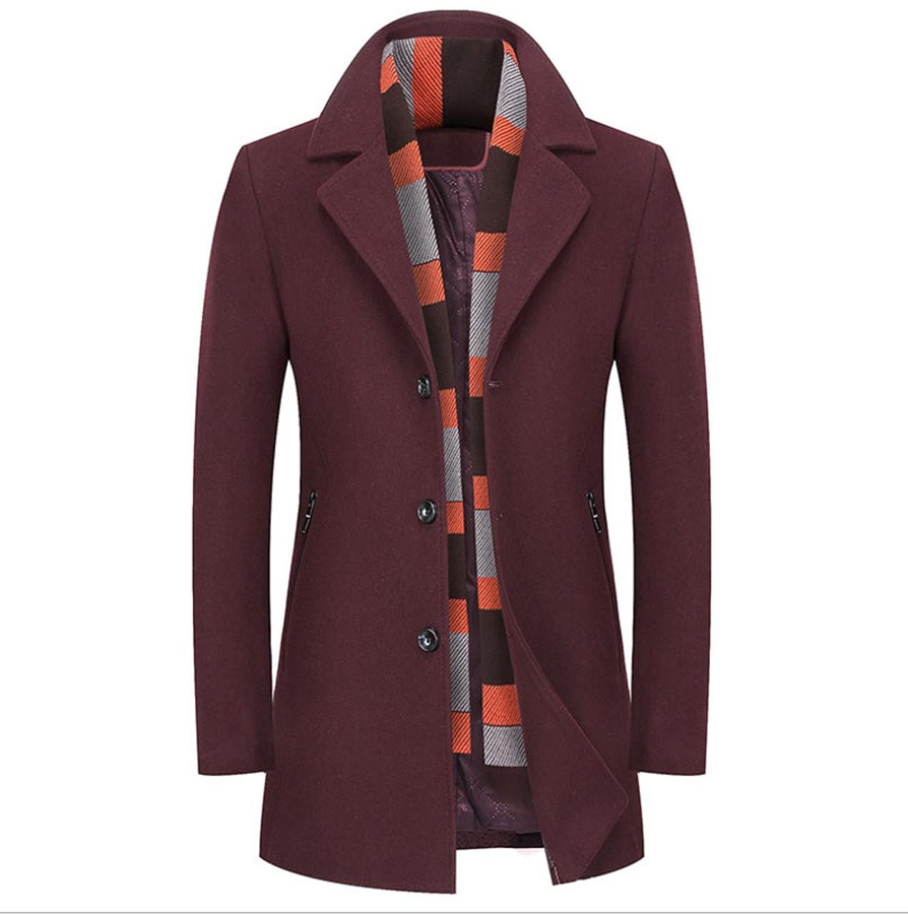 68ce00a0580 ... Mwxsd brand winter men s wool jackets men slim fit scarf collar Wool   amp  Blends male ...