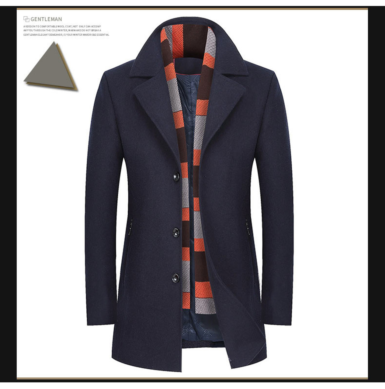 6a68e431df15 ... Mwxsd brand winter men's wool jackets men slim fit scarf collar Wool  & Blends male ...