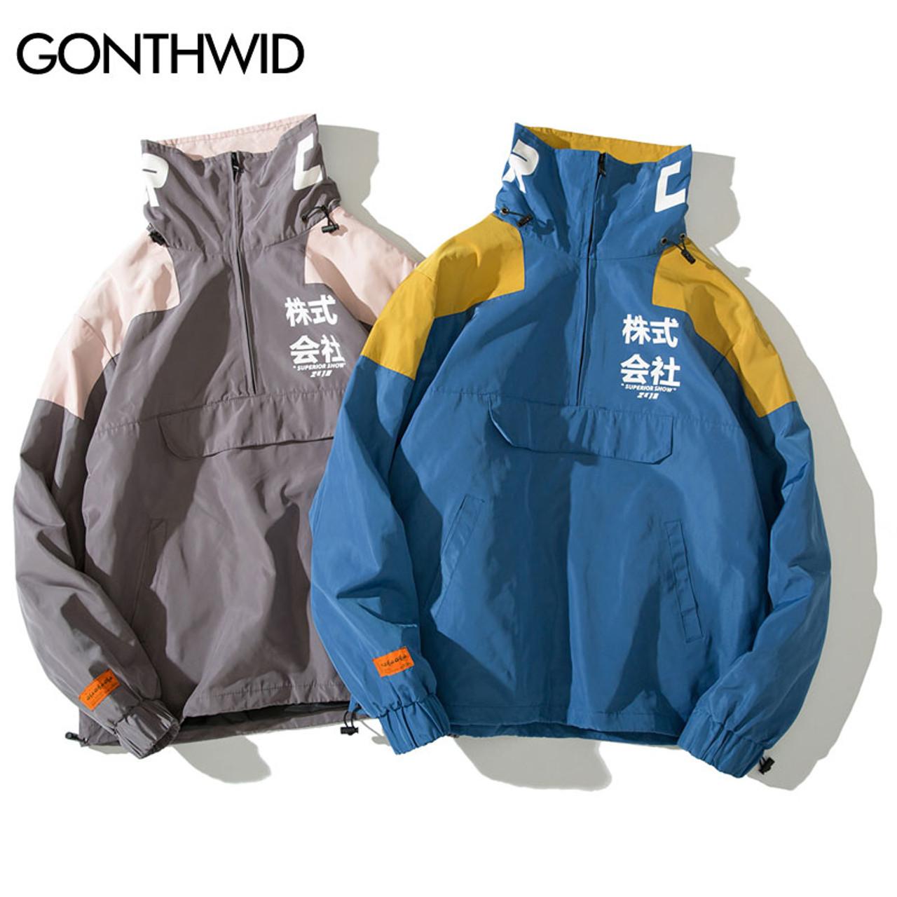 c1755c5734e ... GONTHWID Back Pockets Half Zipper Pullover Windbreaker Track Jackets  Men 2018 Autumn Hip Hop Harajuku Coats ...