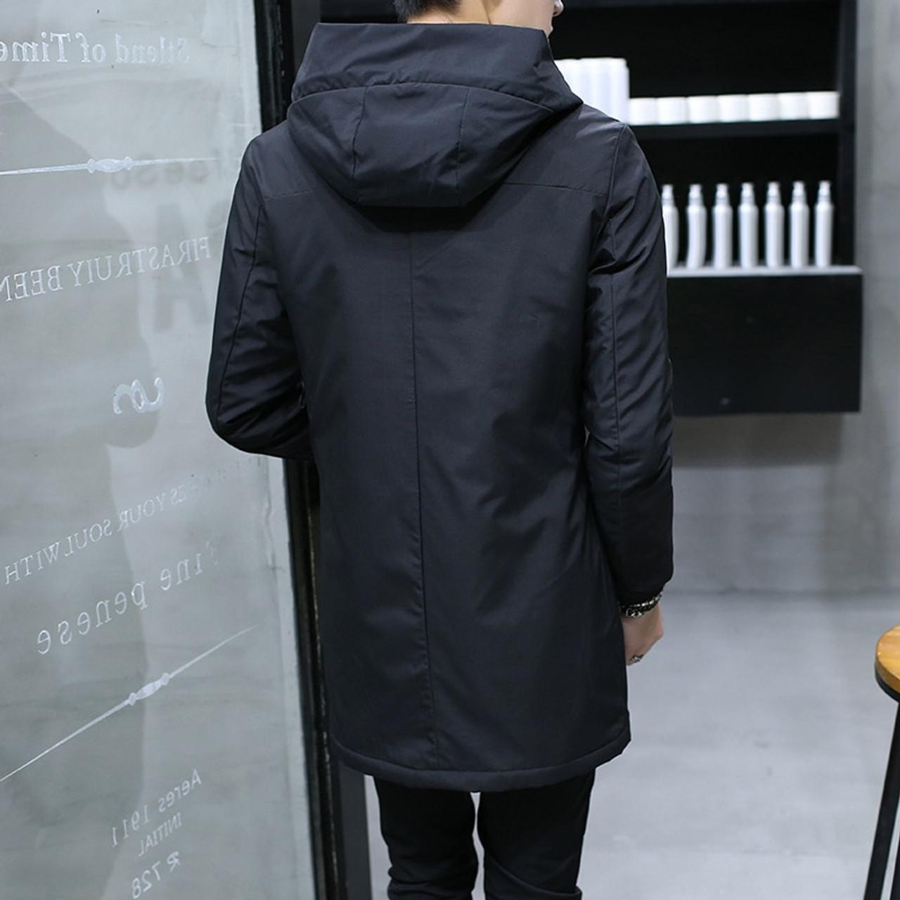 Winter Jacket Men Hooded Slim Korean Parka Hombre Long Coat Cashmere Cottons
