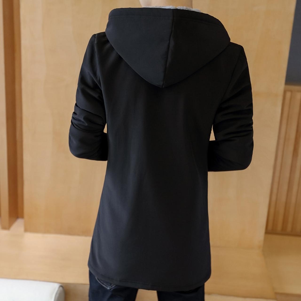 7f48c8978d7 ... 2018 Fashion Winter Men  s Cashmere Warm Jacket Hoodie Trench