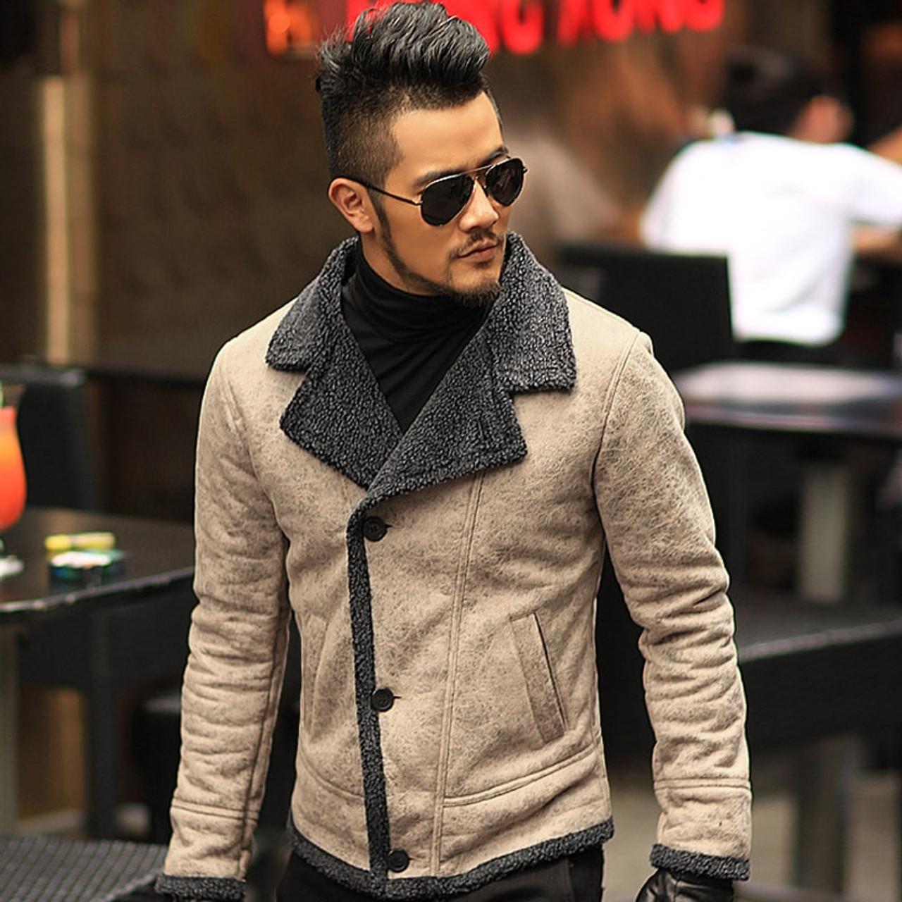 27e1bc833267 2018 Autumn vintage old leather jacket men wool lining men warm fur collar  jacket Mens Faux ...