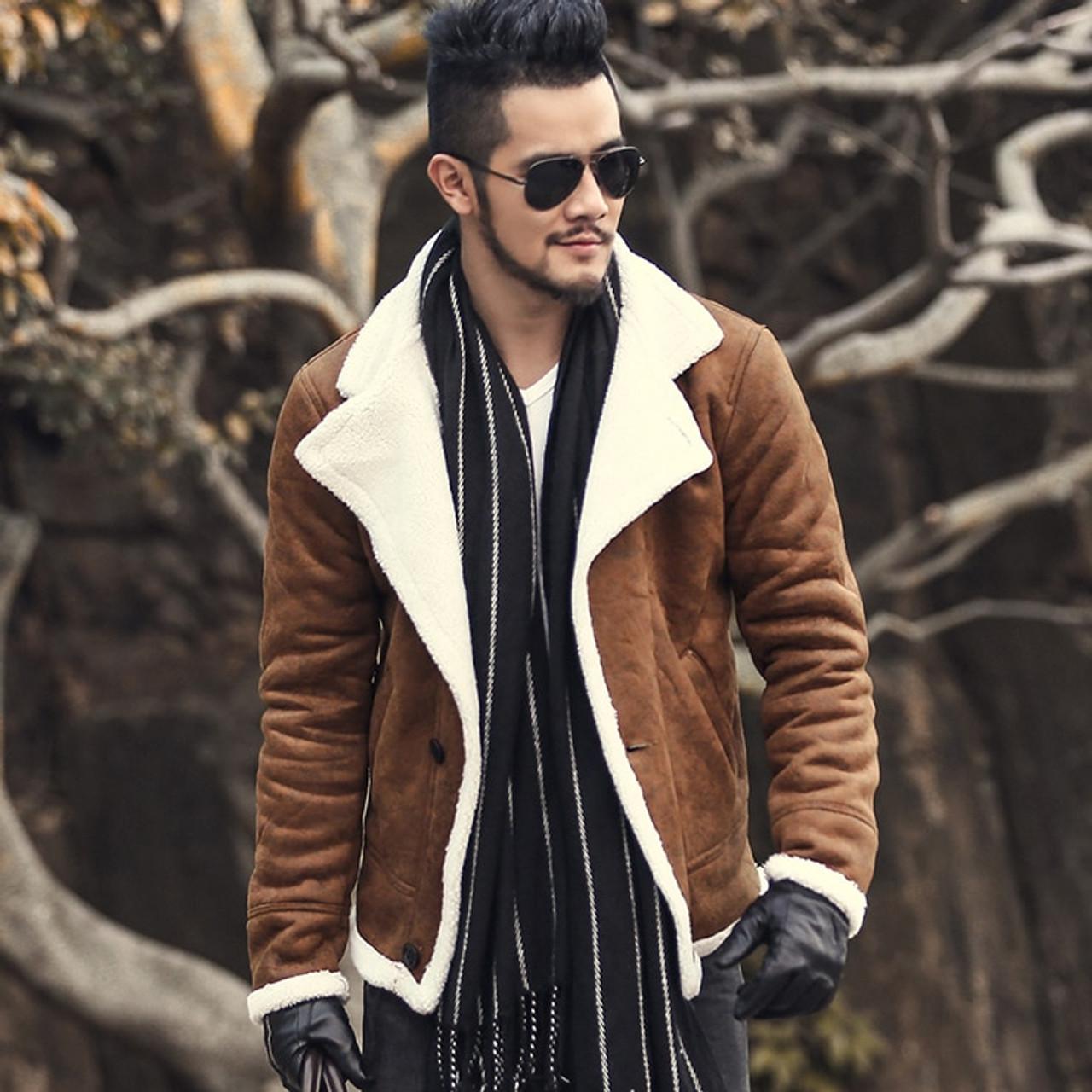 2018 Autumn Vintage Old Leather Jacket Men Wool Lining Men Warm Fur Collar Jacket Mens Faux Leather Short Jacket Coat F1055 Onshopdeals Com