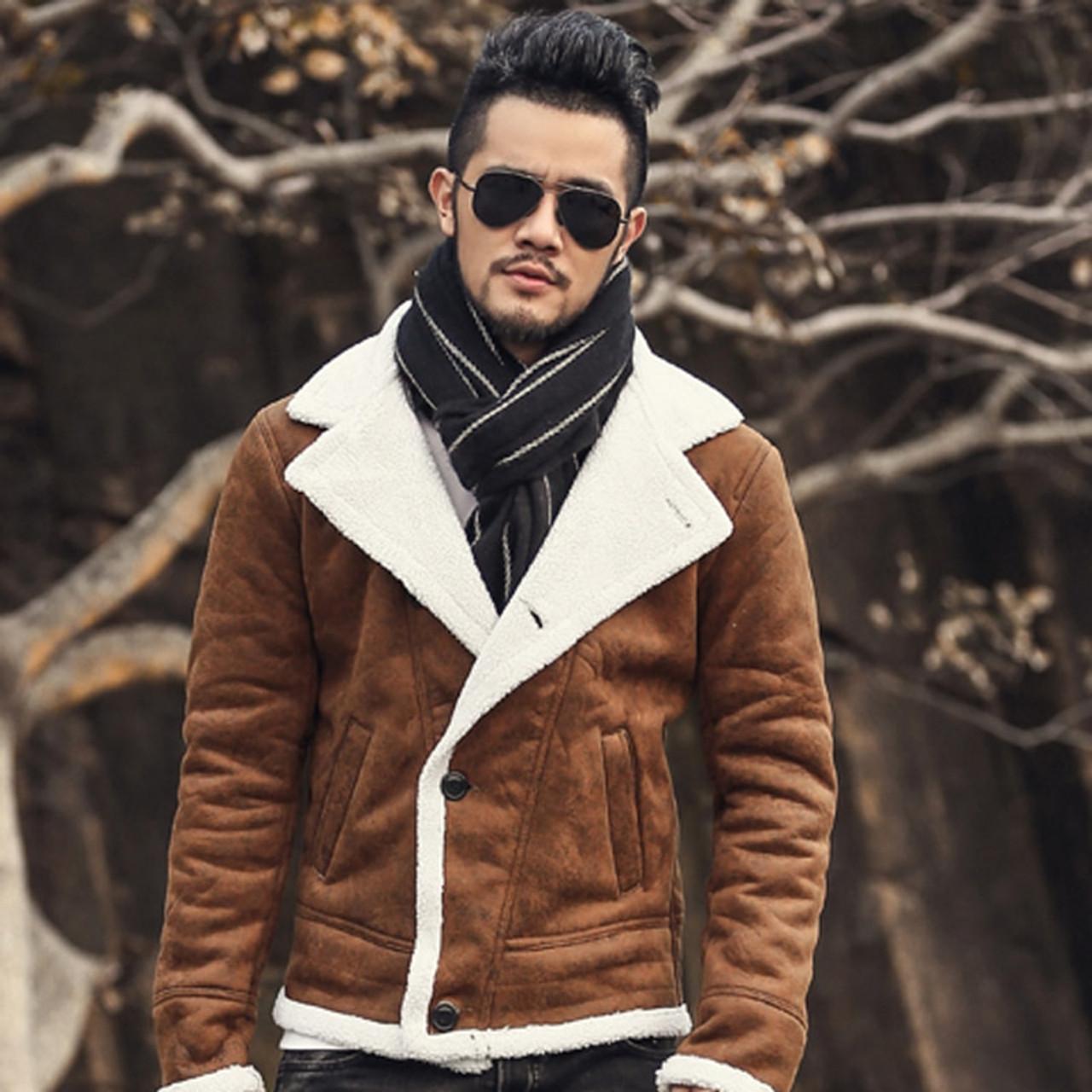 8568883deaa1 ... 2018 Autumn vintage old leather jacket men wool lining men warm fur  collar jacket Mens Faux ...