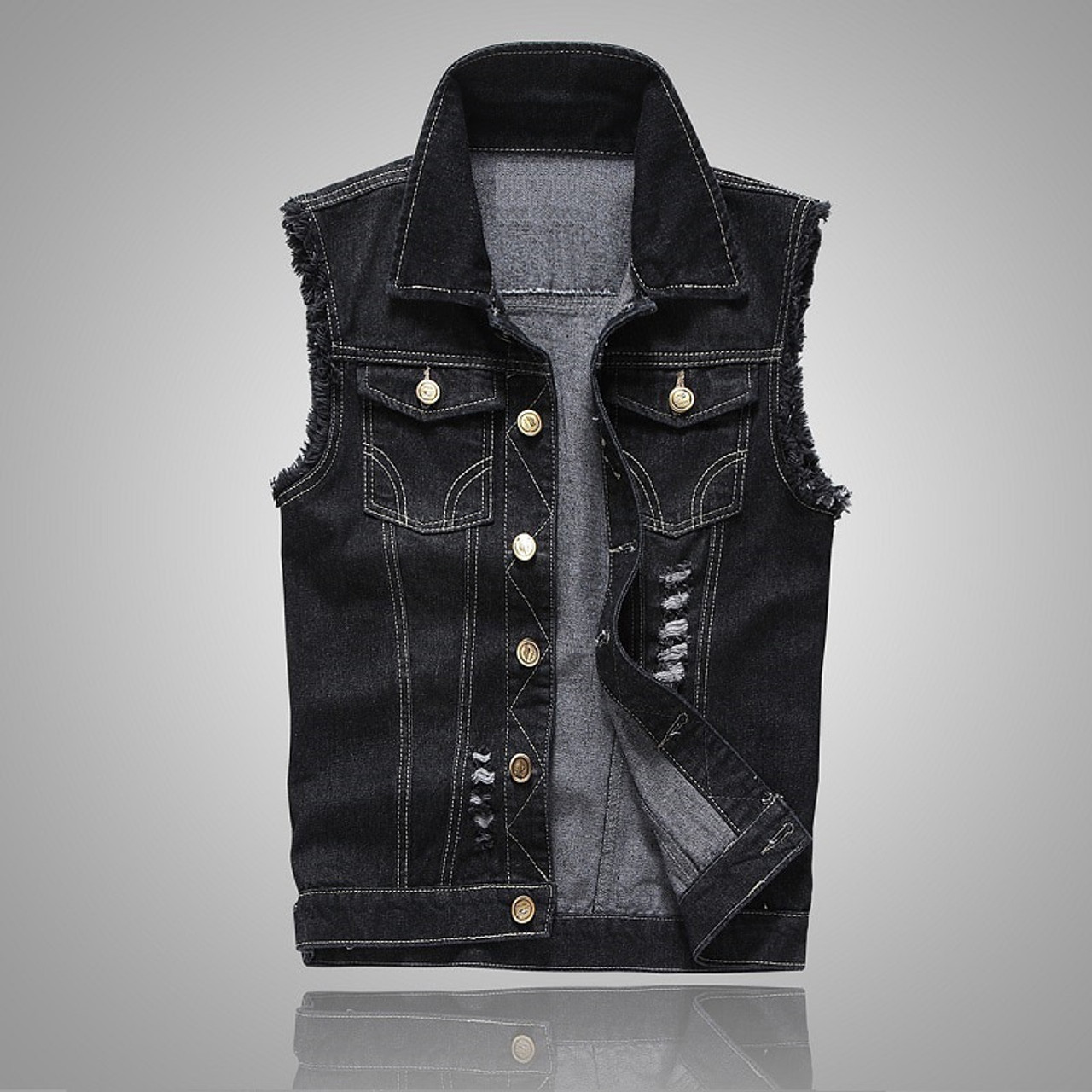 c67a659273b45 ... 2018 Autumn Mens Denim Vest Coat Ripped Tassel Pocket Sleeveless Jean  Jacket Men Casual Cowboy Vest ...