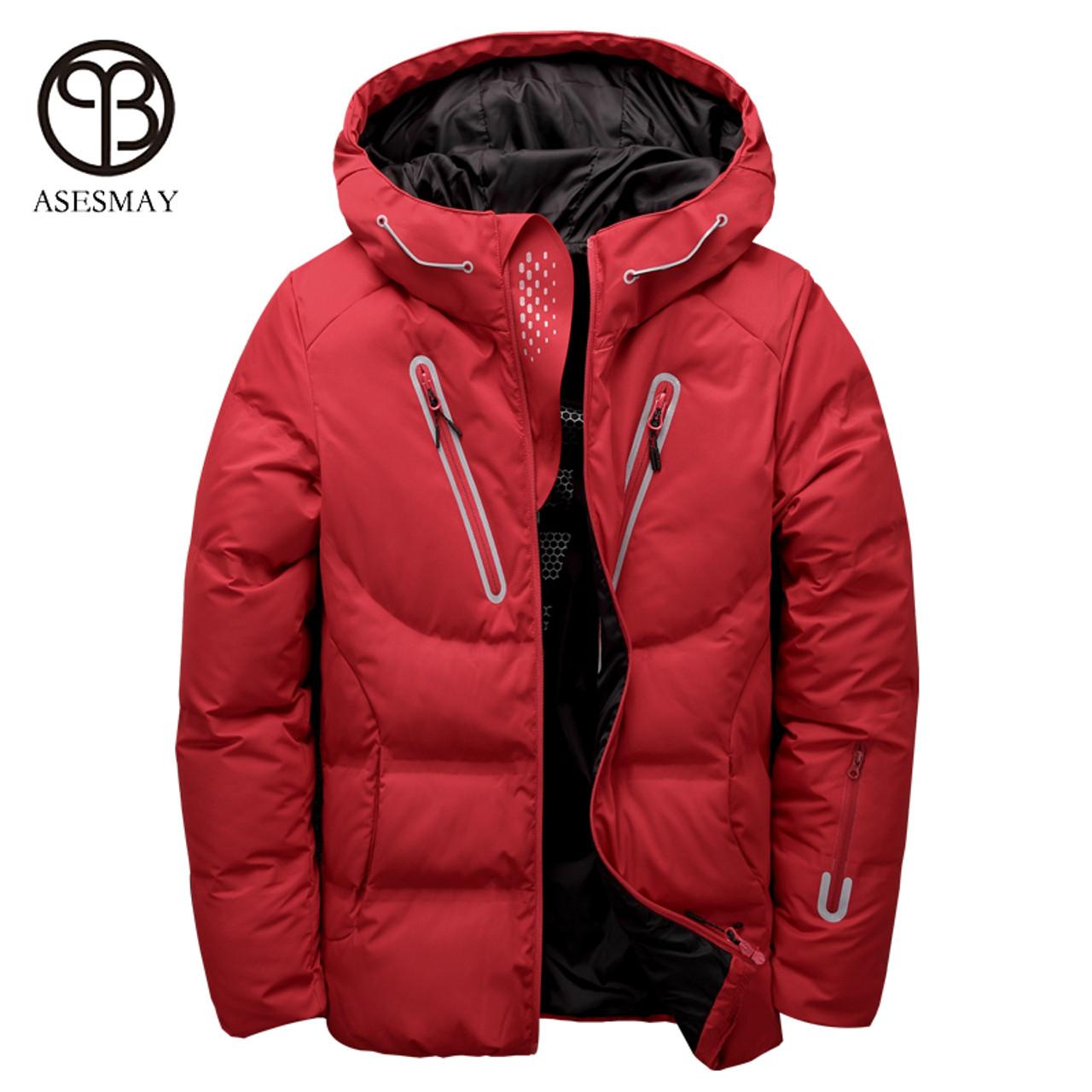 efd61e610 Asesmay luxury men winter jacket white duck down parka casual goose feather  men's winter coat hood thick warm waterproof jackets