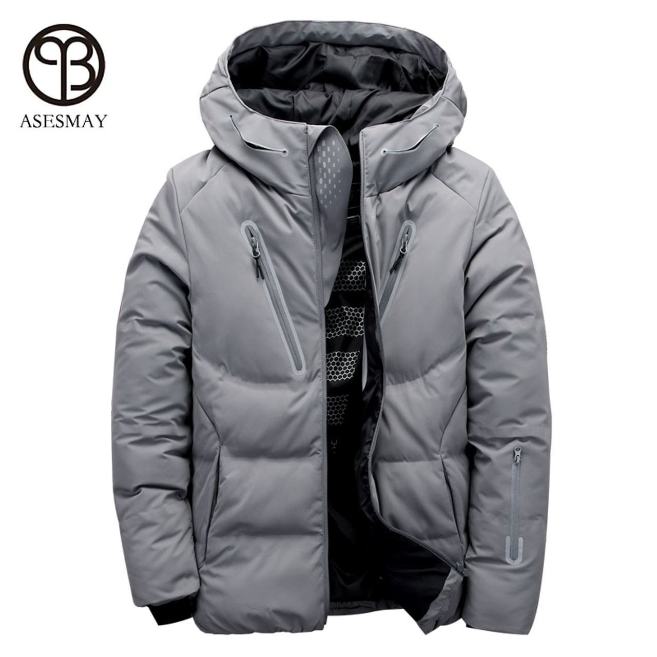outstanding features hot-selling authentic nice shoes Asesmay luxury men winter jacket white duck down parka casual goose feather  men's winter coat hood thick warm waterproof jackets