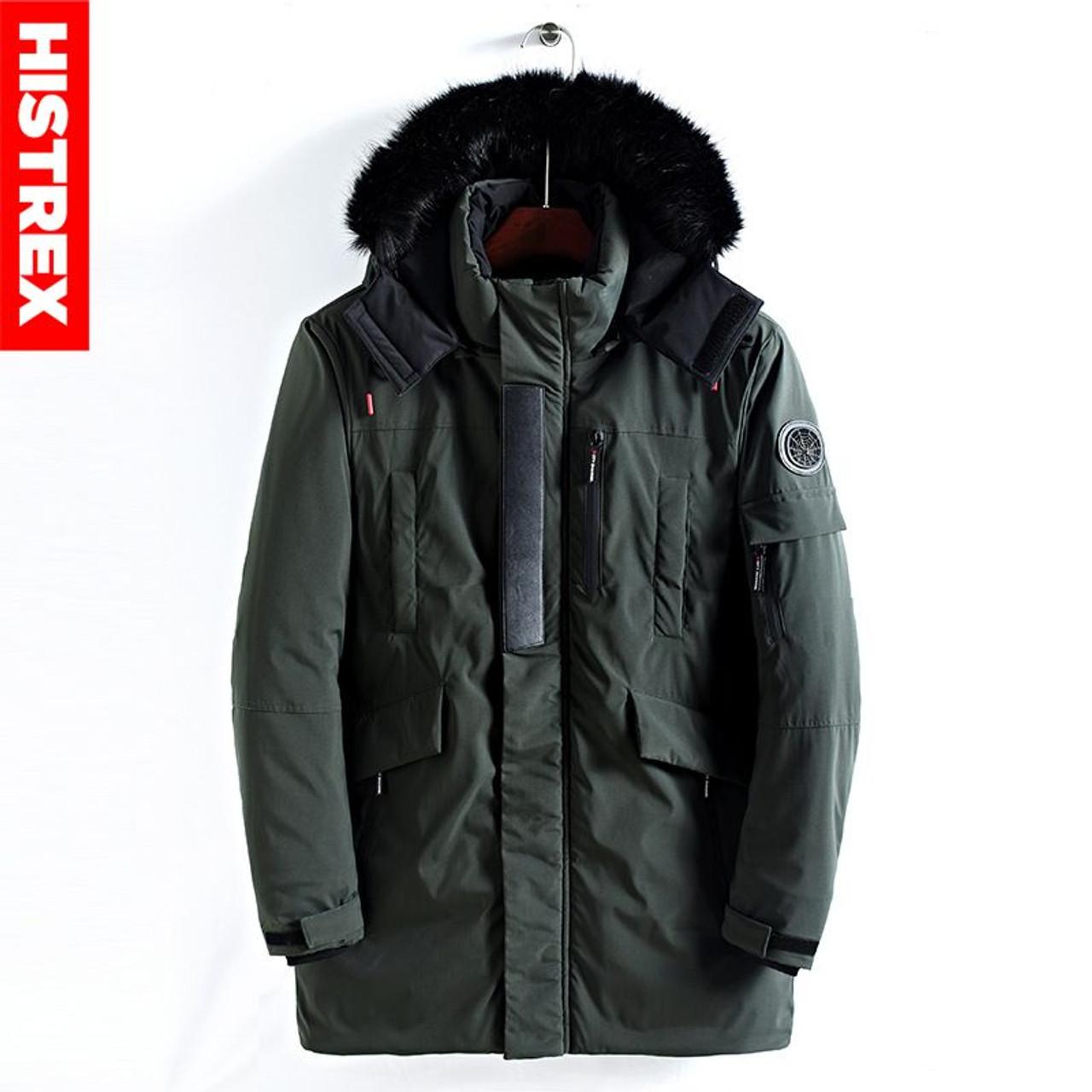 cf2b123434a ... HISTREX Men Parkas Winter Jacket Fur Hooded Coat Long Jacket Mens Parka  Padded Thick Overcoat Army ...