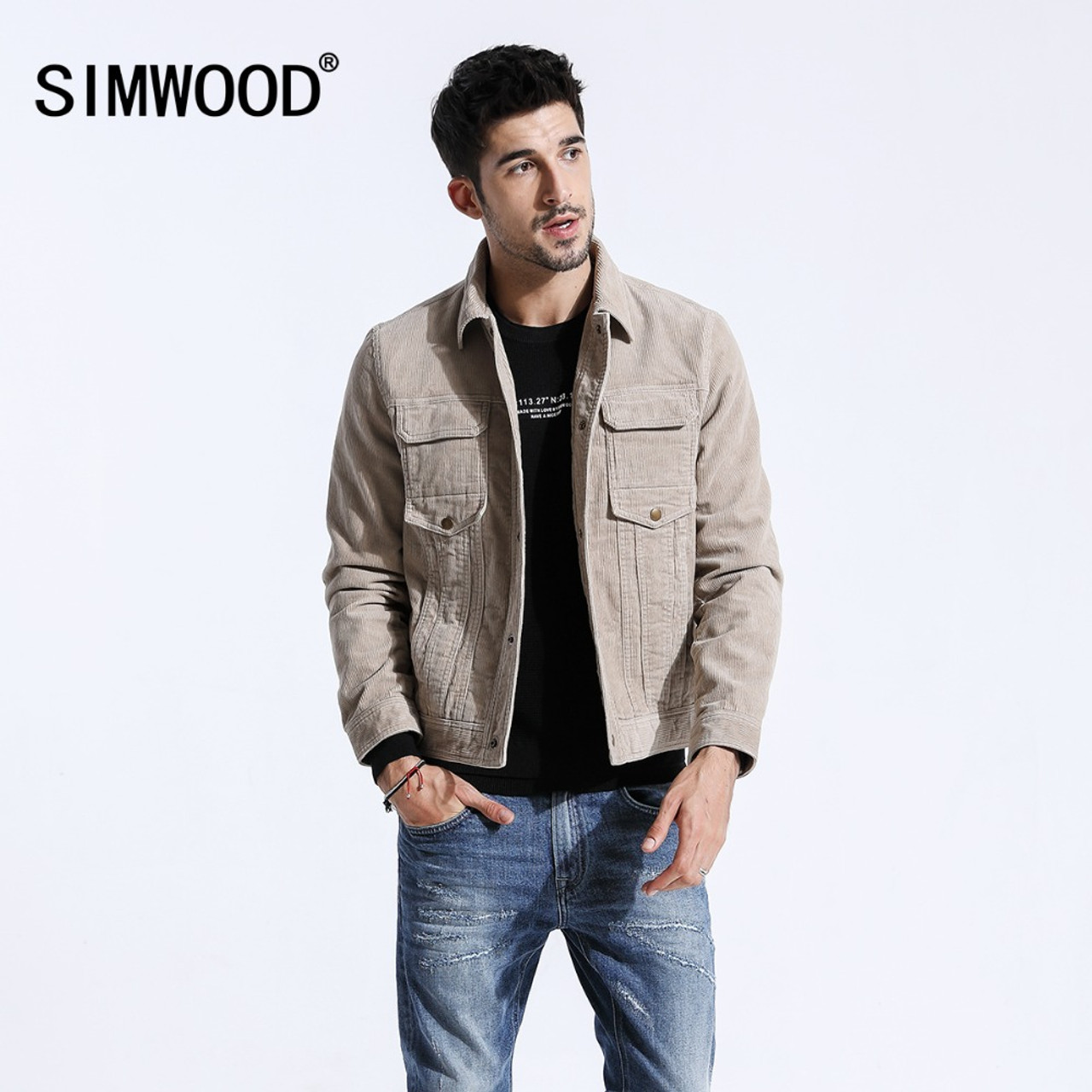 8feeda9056 SIMWOOD 2018 Autumn Jacket Men Casual Fit Corduroy Coats For Men Fashion  Long Sleeve Basic Single Breasted Brand Outwear 180300