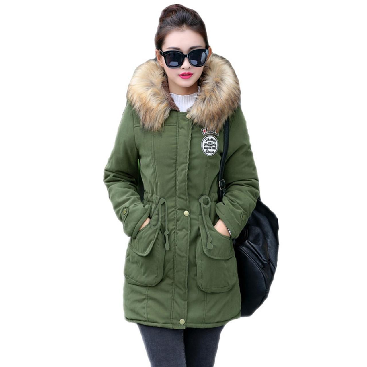 159028ea1 New Long Parkas Female Womens Winter Jacket Coat Thick Cotton Warm Jacket  Womens Outwear Parkas Plus Size Fur Coat 2018