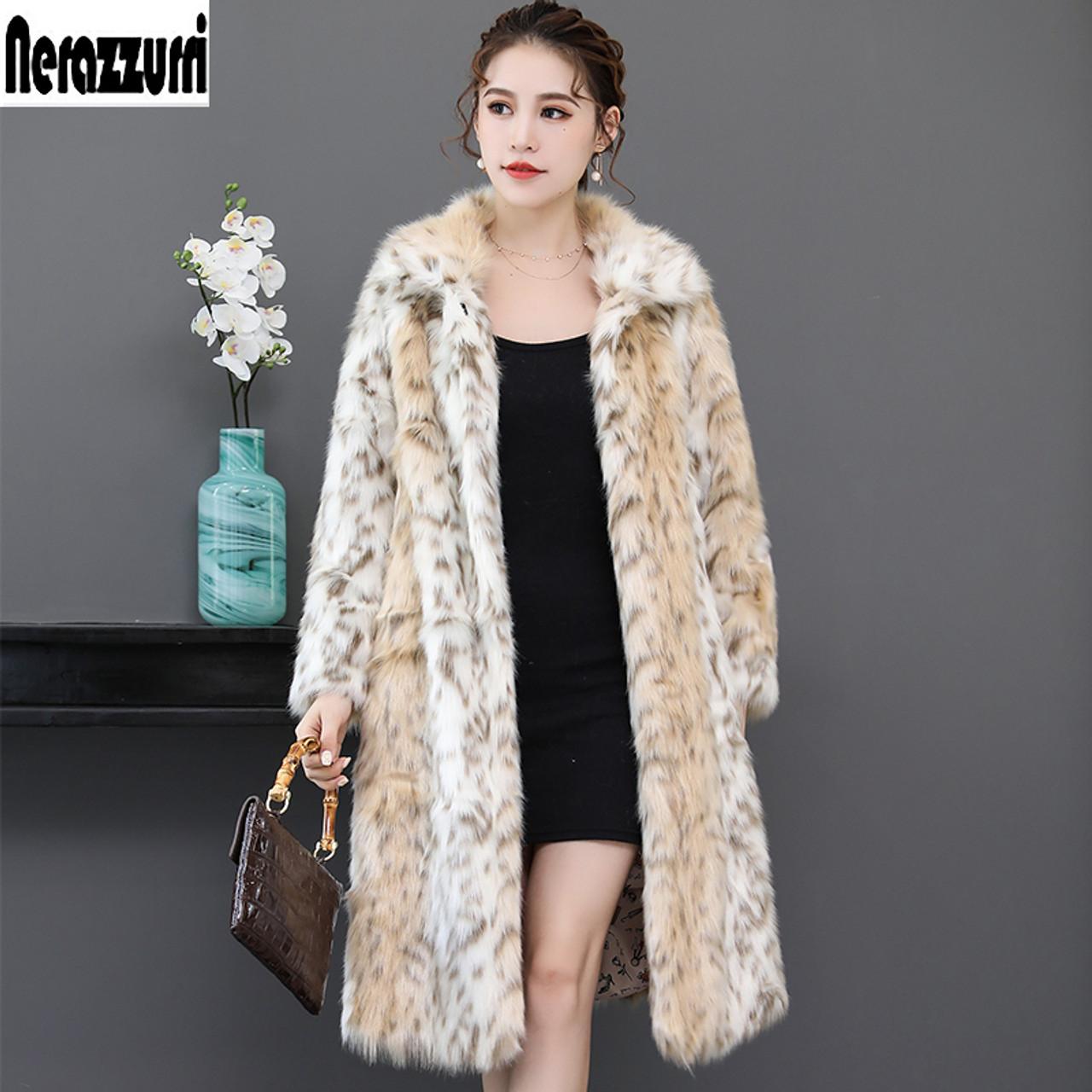 00f64b65401 Nerazzurri Long leopard faux fur coat for woman raglan sleeve winter fake  fur coat fluffy leopard ...