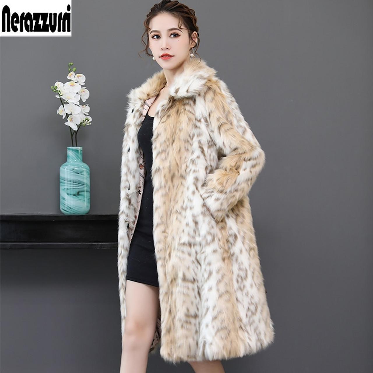9c5f38292f0 ... Nerazzurri Long leopard faux fur coat for woman raglan sleeve winter fake  fur coat fluffy leopard ...