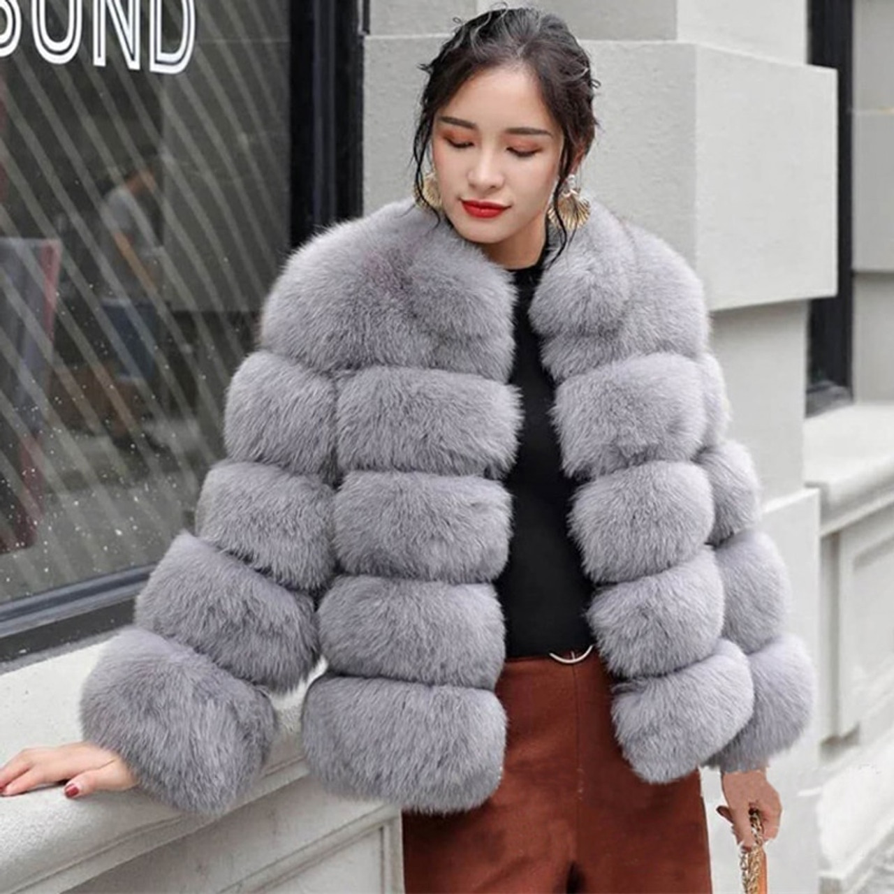 7dfd3a756e9 ZADORIN 2018 New Winter Coat Women Faux Fox Fur Coat Plus Size Women Stand  Collar Long ...