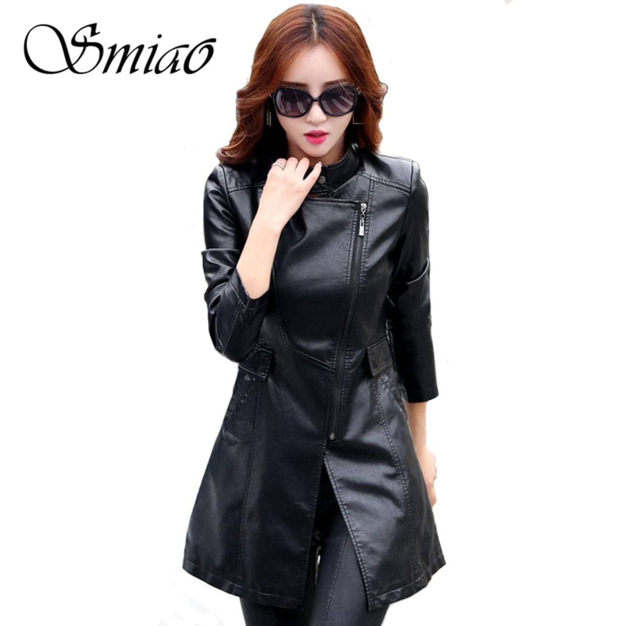 f80b85861ea Smiao 2018 Autumn Female Leather Jacket Winter Plus Size 5XL Long Coat  Female Zipper PU Faux ...
