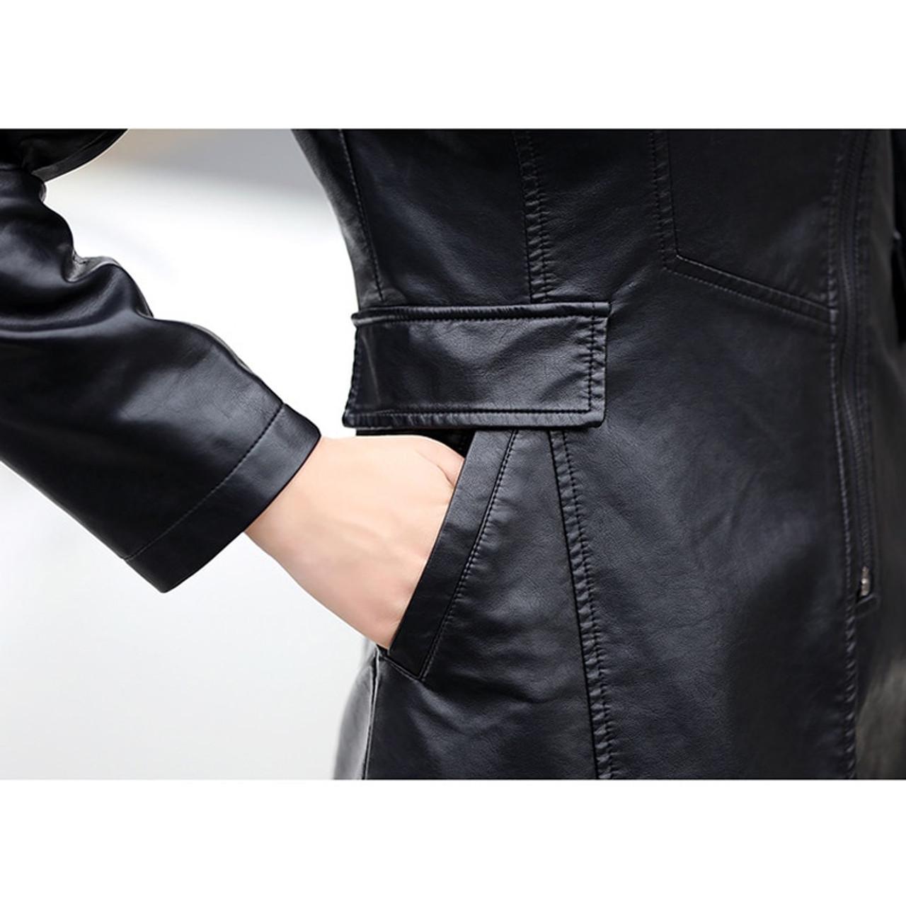 772971d2be12b ... Smiao 2018 Autumn Female Leather Jacket Winter Plus Size 5XL Long Coat  Female Zipper PU Faux ...