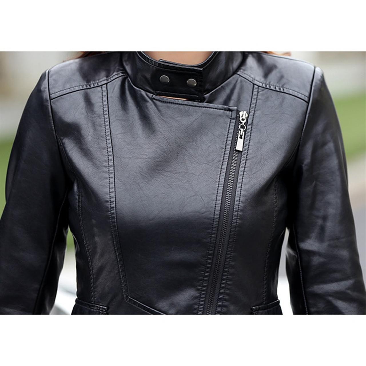 f2395cf7207 ... Smiao 2018 Autumn Female Leather Jacket Winter Plus Size 5XL Long Coat  Female Zipper PU Faux ...